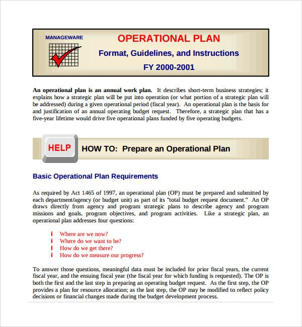 Prepare An Operational Plan Template