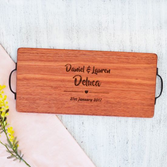 Personalised His and Hers Heart Chopping Board