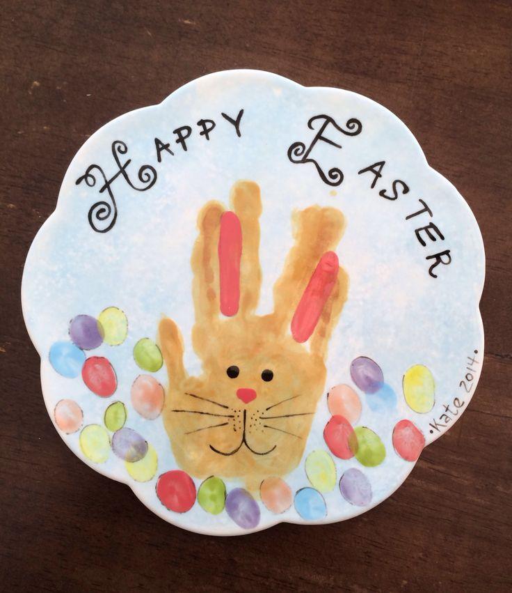 Easter bunny handprint ceramic tile trivet.