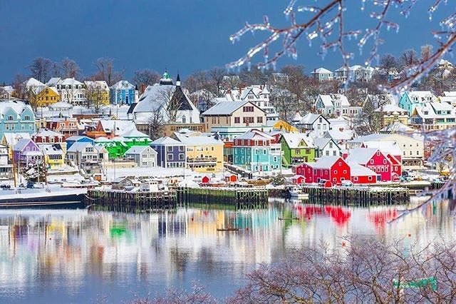 "Nova Scotia (@visitnovascotia): ""Stunning view of Lunenburg Harbour in Winter. Tag someone who would love to explore this UNESCO…"""