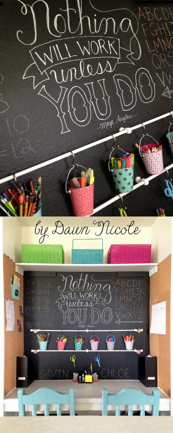 DIY Homework Command Center . Great idea for a small homeschool space too.