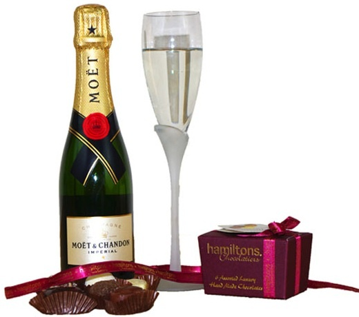Moet. Flute. Chocolates. http://www.allthebesthampers.co.uk/product/617-half-champagne-and-chocolates/