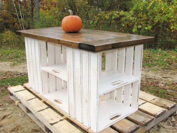 Un îlot de cuisine fait de caissons de bois! Et il n'est pas si gros, voyez les mesures au bas. Ce superbe meuble se vend 1 214.06$ Dollars Canadien sur Etsy!!! Vous imaginez!? Vous pourriez en faire autant? Vous pourriez dénicher des caisses du genr