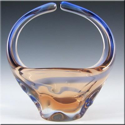 Czech Mstisov/Moser Amber & Blue Glass Organic Vase £34.89