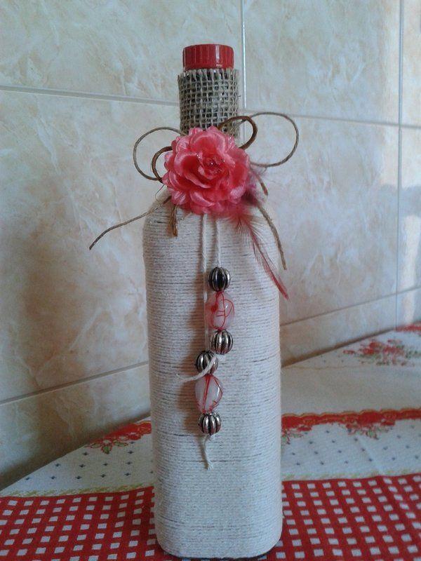 Garrafa flores rosa - :: Artesanatos Criar e Decorar ::
