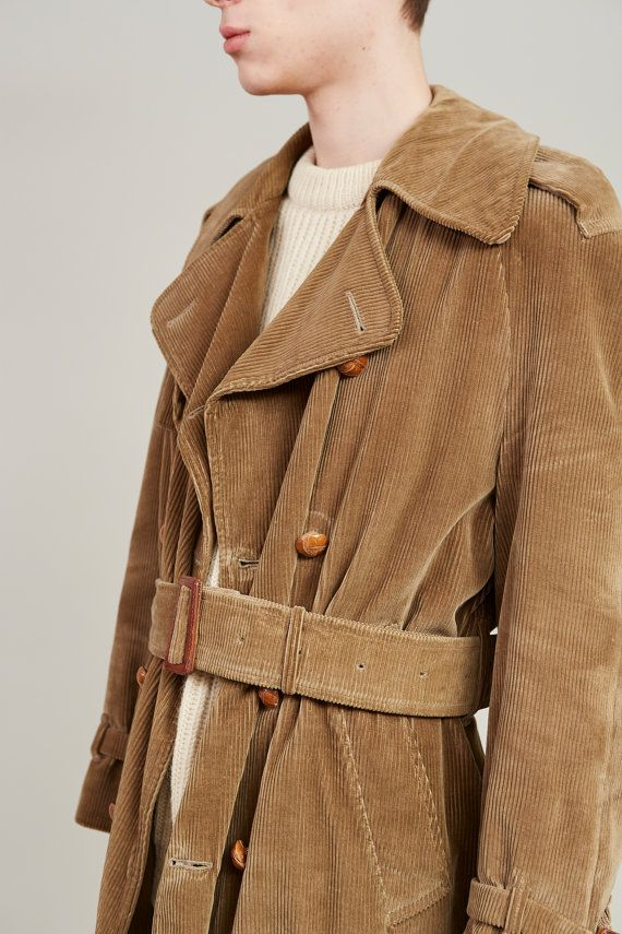 1950s Invertere Khaki Green Corduroy Doublebreasted Trench M