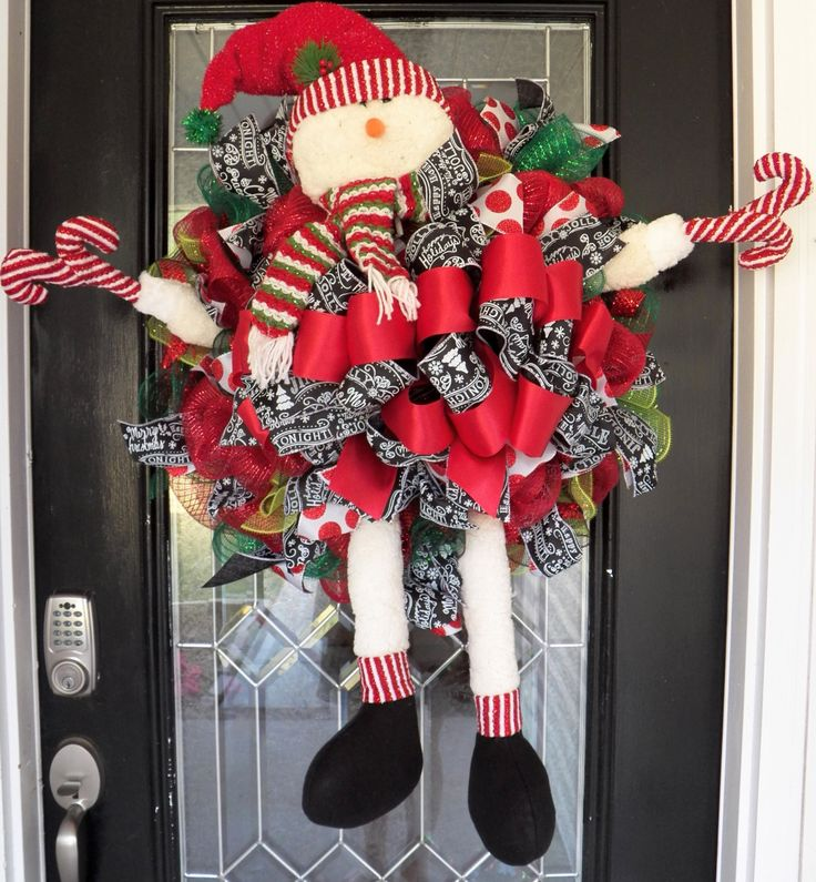 XL Snowman Christmas Wreath, Christmas Decoration, Door Hanger, Holiday Wreaths, Front door Wreaths, Deco Mesh Wreath, Ready to Ship by OccasionsBoutique on Etsy