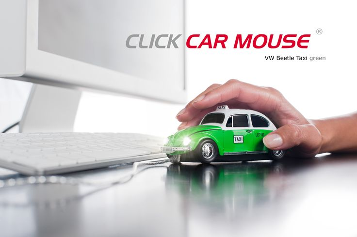 VW Beetle Taxi (Green) Wired Optical Mouse
