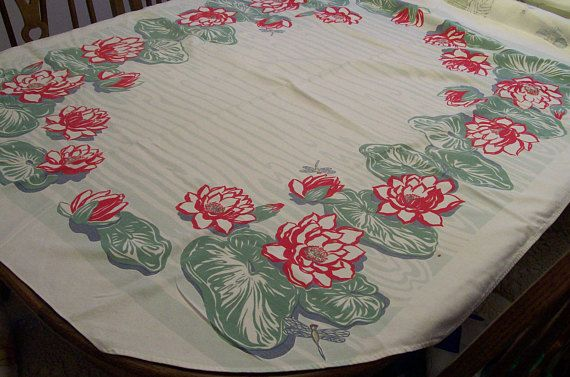 Vintage Tropical Tablecloth Lilies Lily Pad Dragon Fly Circa 1950s 40 x 50 Bold Red Flowers  Mid Century - good condition, one small hole near border edge detected, does not detract, not too noticeable. This bold, unique pattern is perfect for summertime. It Has a distinct tropical feel, with fluttering dragonflies zooming about the edges. Cotton - Circa 1950s  -found at an Illinois estate