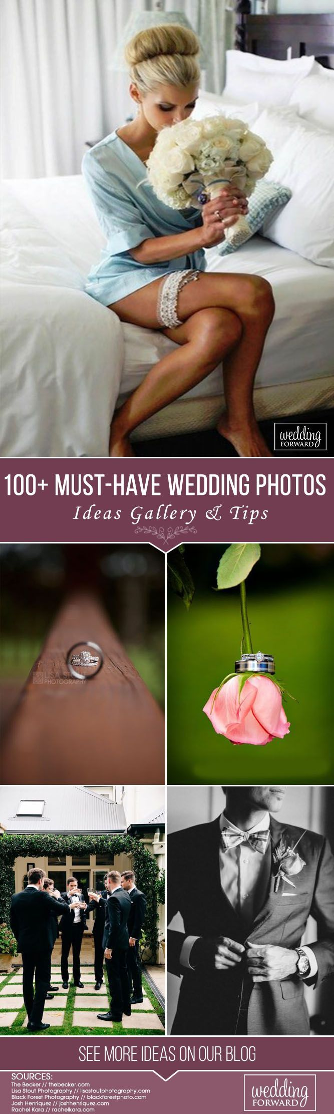 Gallery of absolutely must-have wedding photos to have in your wedding pictures album. Build your checklist and share these with your wedding photographer. #wedding #bride #groom