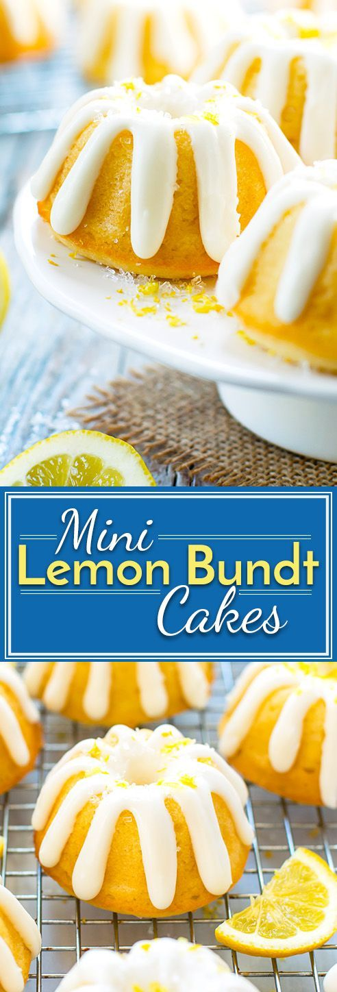 Mini Lemon Bundt Cakes with Cream Cheese Frosting | A fresh lemon bundt cake recipe shrunk down into a mini size! These mini lemon bundt cakes make a great gluten-free Easter or Spring dessert recipe.