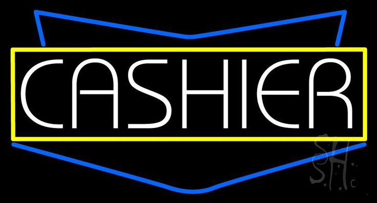 Cashier Neon Sign 20 Tall x 37 Wide x 3 Deep, is 100% Handcrafted with Real Glass Tube Neon Sign. !!! Made in USA !!!  Colors on the sign are Yellow, White and Blue. Cashier Neon Sign is high impact, eye catching, real glass tube neon sign. This characteristic glow can attract customers like nothing else, virtually burning your identity into the minds of potential and future customers. Cashier Neon Sign can be left on 24 hours a day, seven days a week, 365 days a year...for decades.