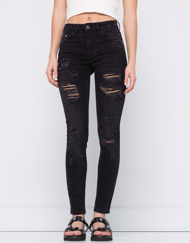 Pull&Bear - dames - denim collection - jeans met scheuren skinny fit - zwart - 09686304-I2016