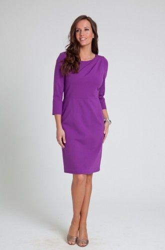 Dobbin Lavender Belle Stretch Ponte Twist Dress