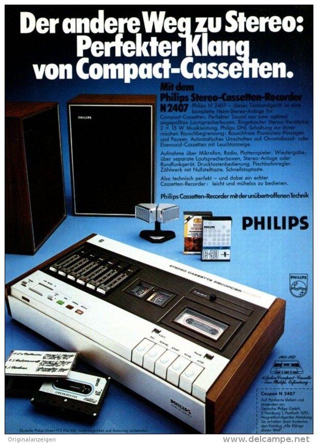 Original-Werbung/ Anzeige 1974 – 1/1 SEITE – PHILIPS CASSETTEN RECORDER N2407 – ca. 180 x 240 mm (Artikelnummer: #376146824)