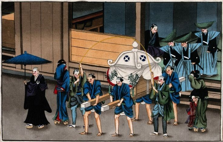Japanese funeral customs - the procession leaves the house, 1880. The Wellcome Library, CC BY