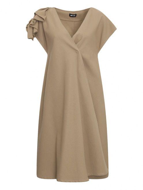 Платье из льна и хлопка с декором на спине - Общий вид