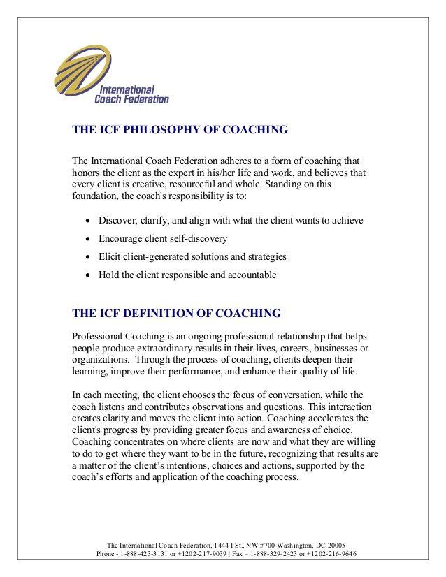 International Coach Federation Philosophy of Coaching