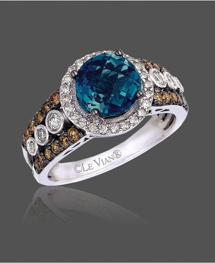 Le Vian Blue Topaz 2 ct t w and White and Chocolate Diamond 3 4