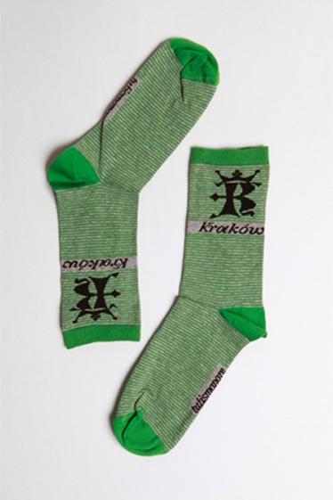 Tulismanore.com | socks | Kraków stripes Green