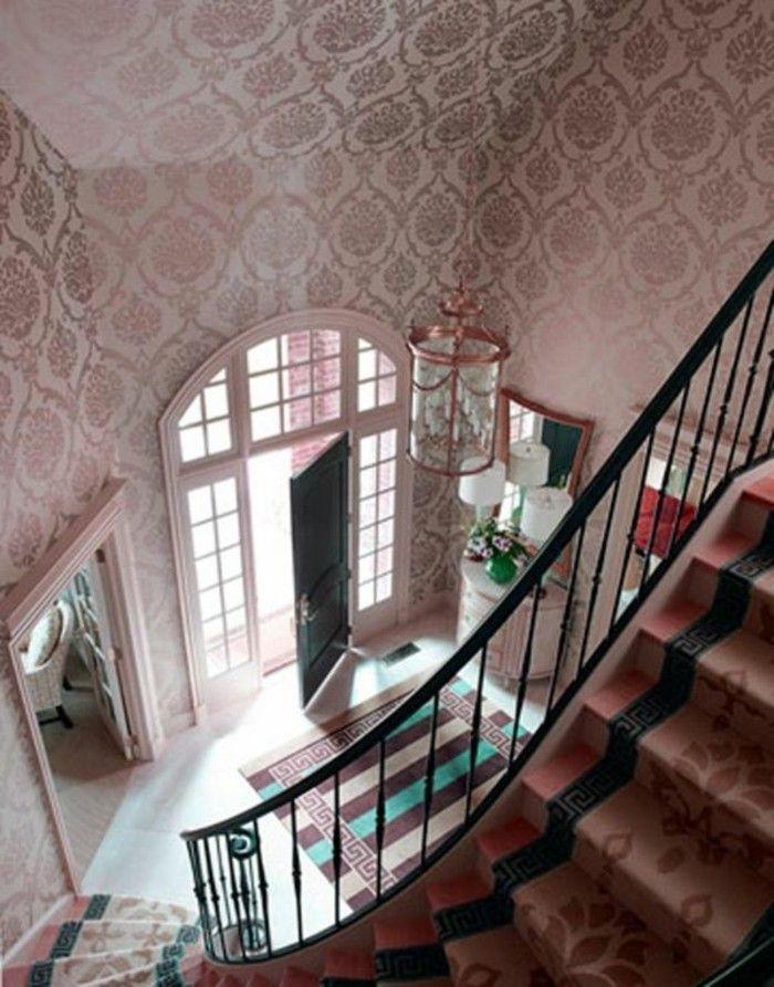 flur tapeten rosa tapeten mit modernem muster