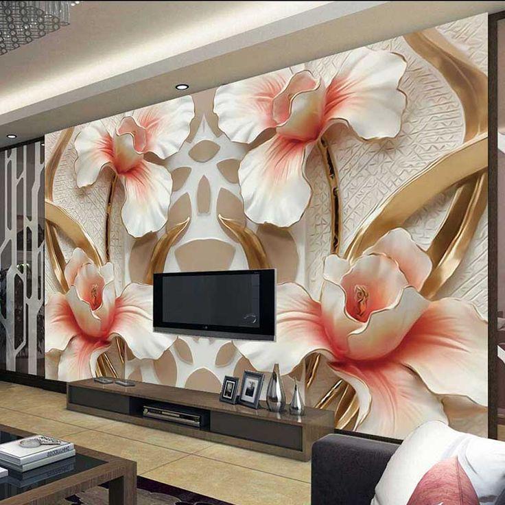 Hot Home Decor Noble Gardenia 3D Mural Wall Paper Modern Pattern Art Waterproof Wallpaper For Bathroom Living Room #8