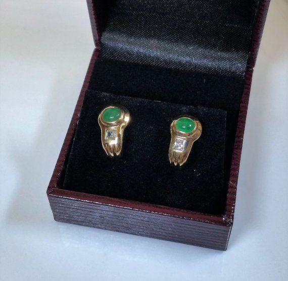 Ohrringe Gold 333 Ohrstecker Smaragd Kristall von Schmuckbaron