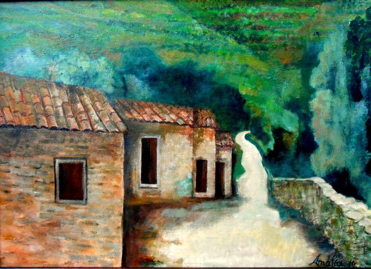 Amália Soares (acrílico sobre tela 70x50) caminho de aldeia