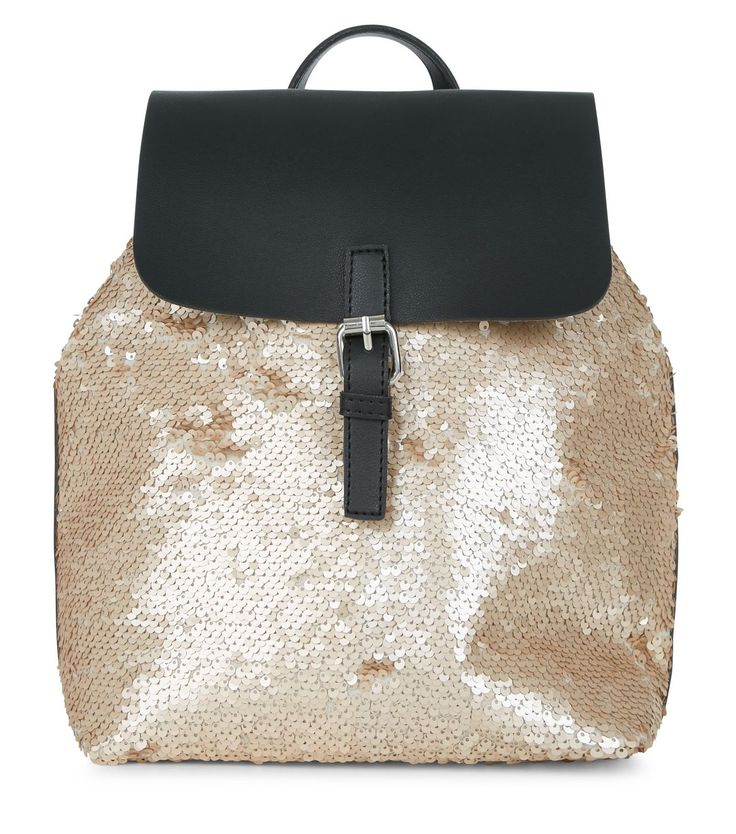 Gold Sequin Backpack   New Look