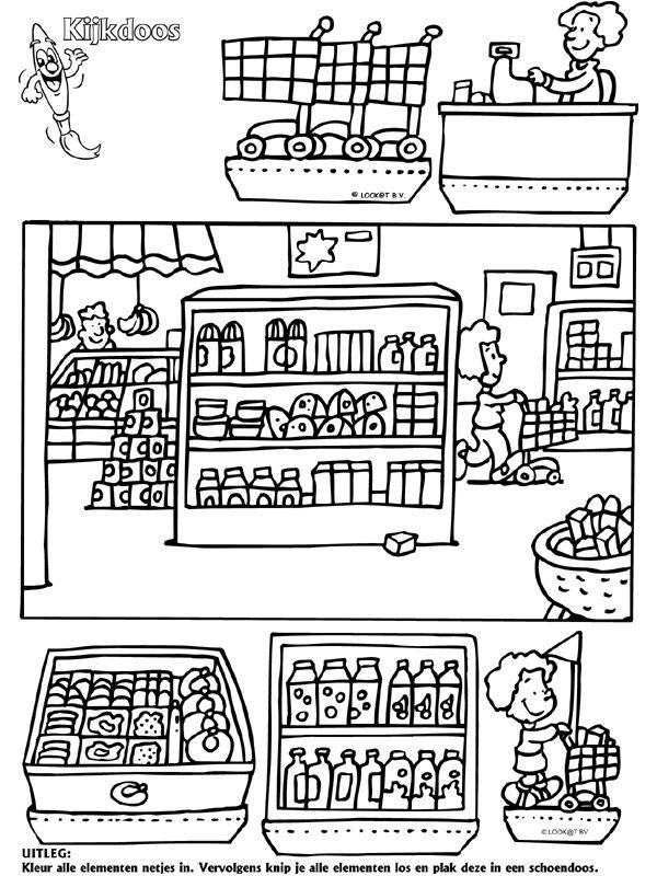Supermarkt - Kijkdoos - Knutselpagina.nl - knutselen, knutselen en nog eens knutselen.