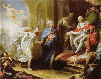 """""""Godoy presentando la Paz a Carlos IV"""", por José Aparicio. Este cuadro representa la consecuencia de las medidas en relación con la política exterior de Carlos IV(1788-1808). La proclamación de la I República en Francia derivó a una guerra entre ambos países, donde ayuda Gran Bretaña a España. Ante tal situación, el rey nombra a Manuel Godoy (1792) primer ministro para manejar el suceso.Tras la derrota de España, se firmó la Paz de Basilea (1795) con la que lidió Godoy, luego Príncipe de la…"""