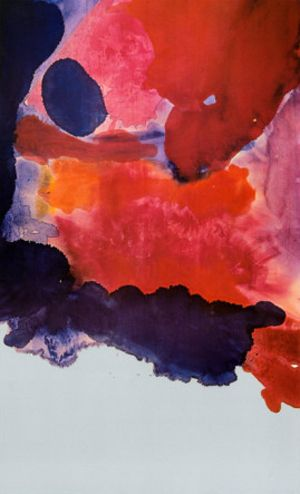 "Helen Frankenthaler: Blue Atmosphere, 1963. Love the colors ""bleeding"" into one another."