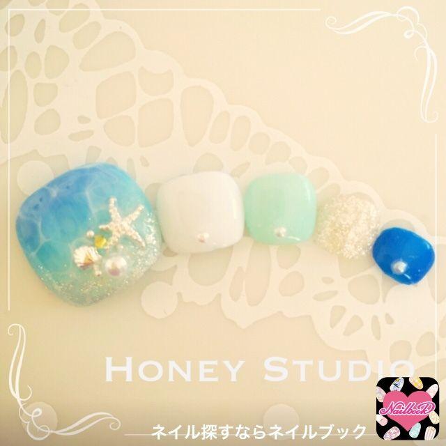 ネイル 画像 あきる野市ジェルネイルサロン☆Honey Studio 武蔵増戸 1068257 ブルー グラデーション ソフトジェル フット