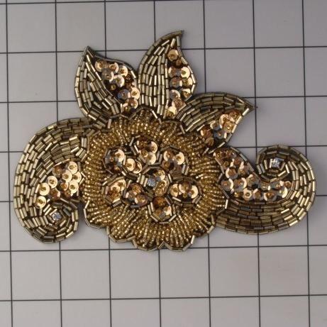 GOLD ON BLACK BEADED APPLIQUE fredfrankel.com
