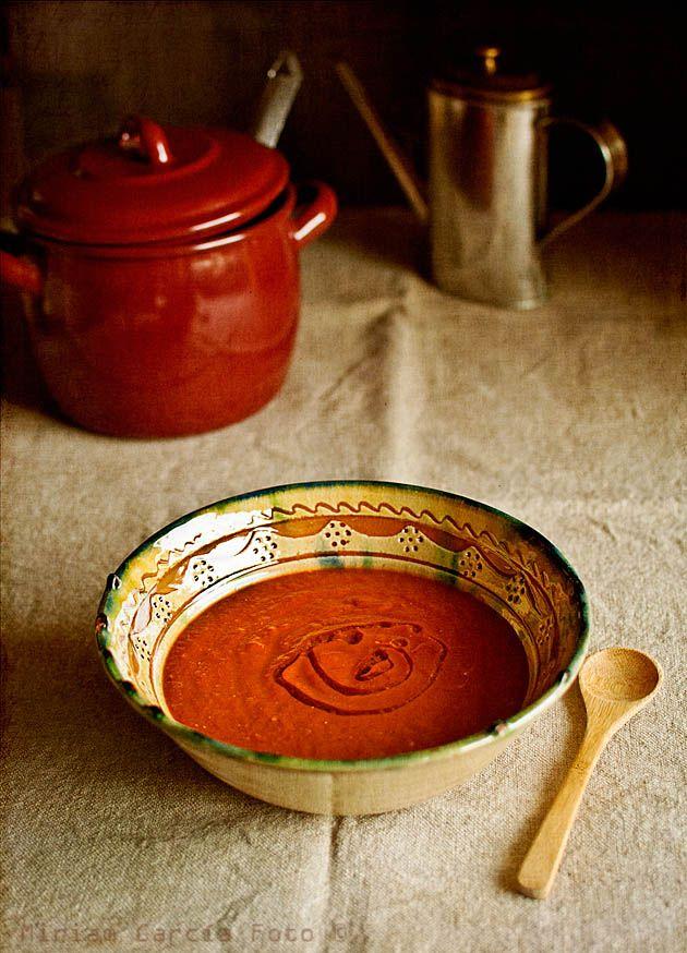 Crema de tomates y pimientos asados, picante | Recetas con fotos paso a paso El invitado de invierno