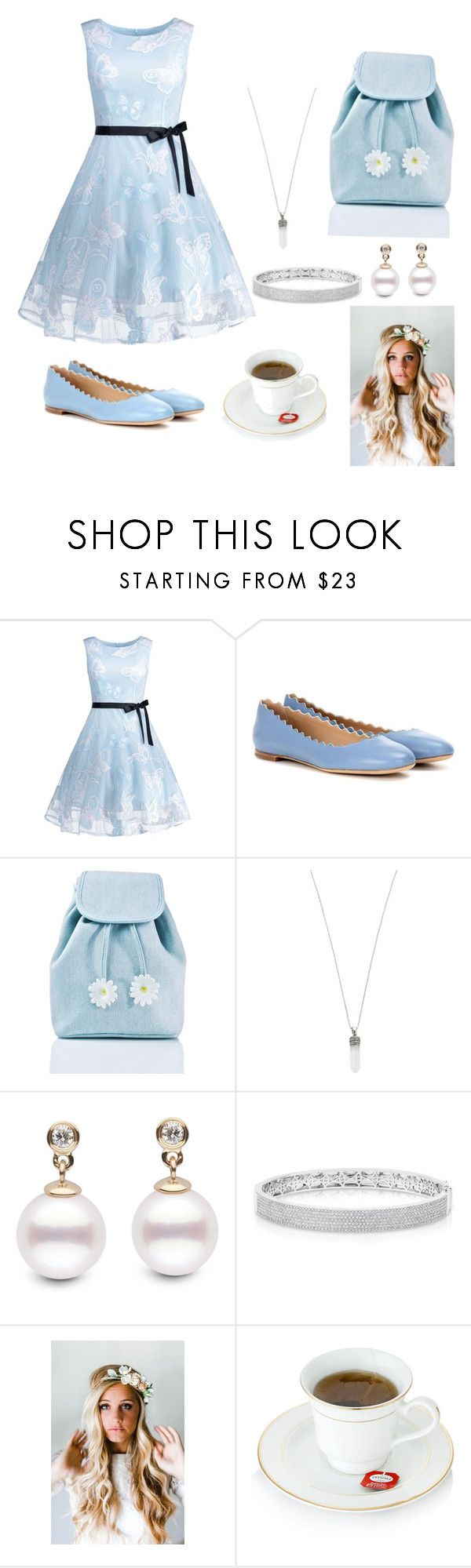 """Alice in wonderland"" by cmdiskin ❤ liked on Polyvore featuring Chloé, Sugarbaby, Marc Jacobs, Anne Sisteron and Emily Rose Flower Crowns"