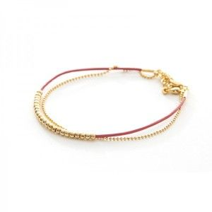 ELSA CHAIN AND RED LEATHER BRACELET $45.00   Details:  Lobster closure; Gold plated metal and leather; Measures approx. 2.5″ with 1″ adjustable chain.