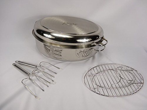 Rancher M10002 Stainless Steel Oval Roaster Set Click
