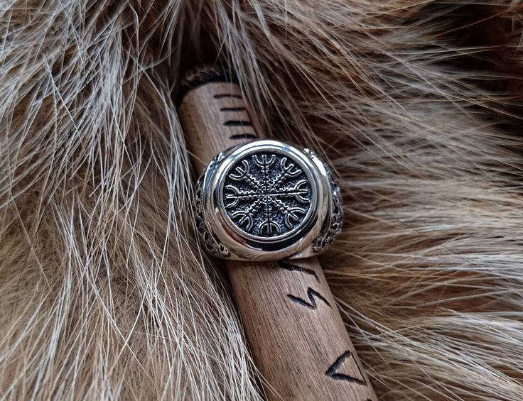 The Helm of Awe (Aegishjalmur) Viking Ring Sterling Silver Scandinavian Norse Jewelry by BerlogaWorkshop on Etsy