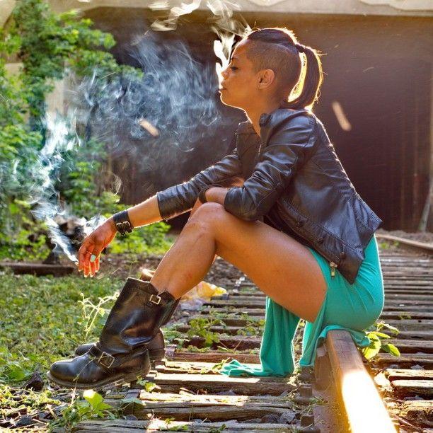 Smoking Tattoo Girl Urban Underground Portrait - Paris