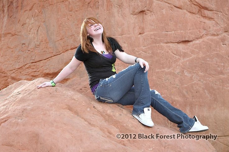 Girl high school senior portraits done at Garden of the Gods in Colorado Springs by Black Forest Photography http://www.blackforestphoto.com Colorado Springs high school senior photographers