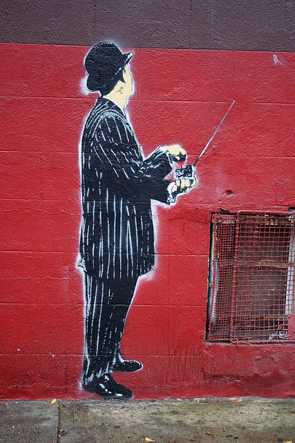 #3. Banksy's pieces are often politically related and address current issues in society. Although it is unclear for sure, Banksy may have been inspired by a stencil street artist, Blek le Rat, who came before him. Many people have noted that Banksy maintains a very similar style to Blek le Rat.