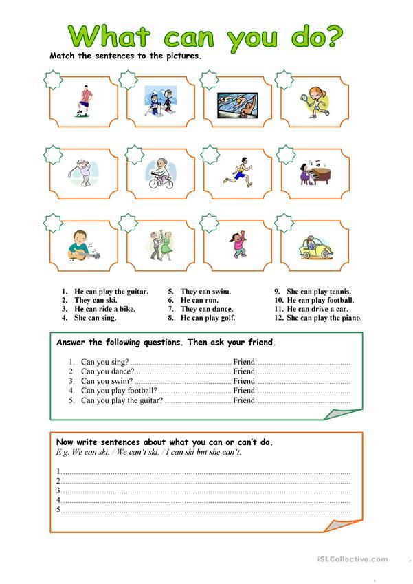 CAN - CAN'T Worksheet - Free ESL Printable Worksheets Made By Teachers  English Worksheets For Kids, English Grammar For Kids, Grammar For Kids