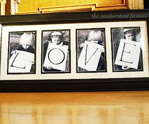 Neat idea for our next family photo shoot :)  Super easy!  just take a piece of cardboard paper and cut into 4.... write the letter on each and have the kids hold up!  doesn't matter what they wear if you change to sepia or b color.  print and frame - less than a $10.00 project! ;)