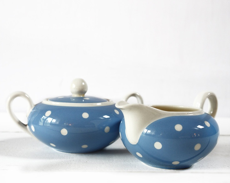 Color Trend 2013 Dusk Blue -  Villeroy and Boch sugar and milk POTS blue with white DOTS. $60.00, via Etsy.