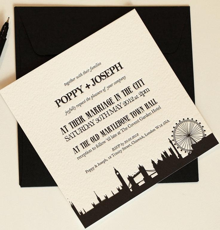 London Skyline Wedding Invitations Paper Pinterest