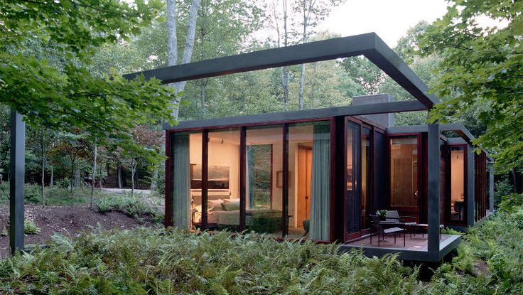 Continuous structural steel frame forest house | Small ...