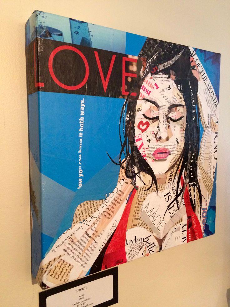 "Artist: Louich! Collage on canvas 2016 ""Ocean Blue Love"" • 12""x 12"" LouichArt@gmail.com #collage #louich #art"
