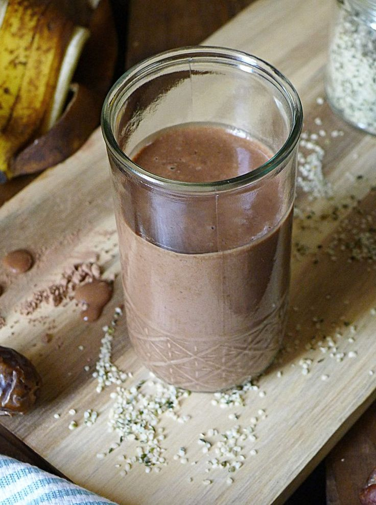 Rich Chocolate Milkshake made with hemp seed and coconut butter