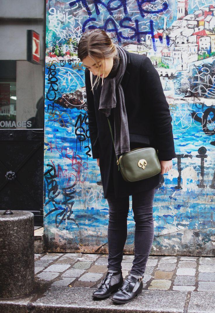 A découvrir le look de Chloé - Manteau Sessun - Jean H&M - T-Shirt Kenzo - Chaussures Andre - Sac Laffargue